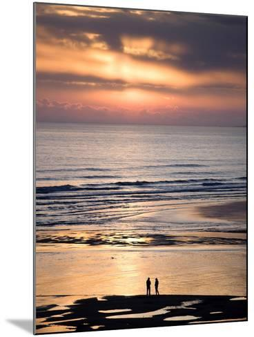 Man and Woman in Silhouette Looking Out Over North Sea at Sunsrise From Alnmouth Beach, England-Lee Frost-Mounted Photographic Print