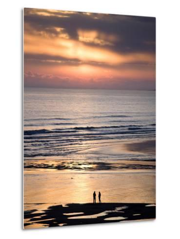 Man and Woman in Silhouette Looking Out Over North Sea at Sunsrise From Alnmouth Beach, England-Lee Frost-Metal Print