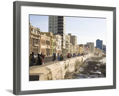 View Along the Malecon, People Sitting on the Seawall Enjoying the Evening Sunshine, Havana, Cuba-Lee Frost-Framed Art Print