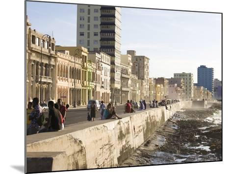 View Along the Malecon, People Sitting on the Seawall Enjoying the Evening Sunshine, Havana, Cuba-Lee Frost-Mounted Photographic Print