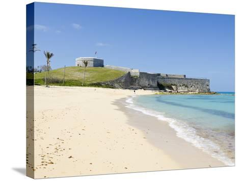 Gate's Bay (St. Catherine's Beach) With Fort St. Catherine in Background, Bermuda-Michael DeFreitas-Stretched Canvas Print