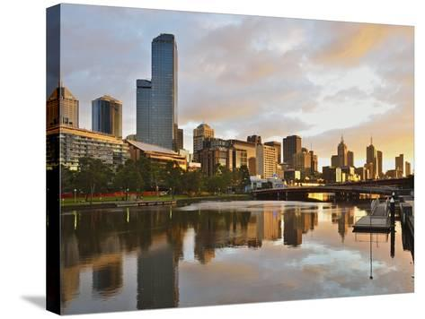 Sunrise, Melbourne Central Business District (Cbd) and Yarra River, Melbourne, Victoria, Australia-Jochen Schlenker-Stretched Canvas Print