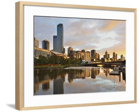 Sunrise, Melbourne Central Business District (Cbd) and Yarra River, Melbourne, Victoria, Australia-Jochen Schlenker-Framed Art Print