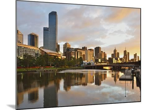 Sunrise, Melbourne Central Business District (Cbd) and Yarra River, Melbourne, Victoria, Australia-Jochen Schlenker-Mounted Photographic Print