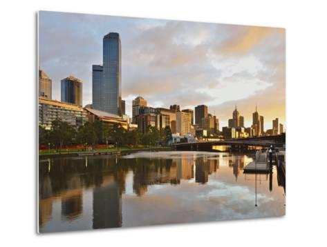Sunrise, Melbourne Central Business District (Cbd) and Yarra River, Melbourne, Victoria, Australia-Jochen Schlenker-Metal Print