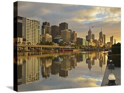 Sunrise, Melbourne Central Business District (Cbd) and Yarra River, Melbourne, Victoria, Australia-Jochen Schlenker-Stretched Canvas Print