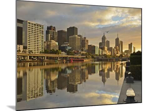 Sunrise, Melbourne Central Business District (Cbd) and Yarra River, Melbourne, Victoria, Australia-Jochen Schlenker-Mounted Photographic Print