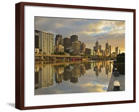 Sunrise, Melbourne Central Business District (Cbd) and Yarra River, Melbourne, Victoria, Australia-Jochen Schlenker-Framed Art Print