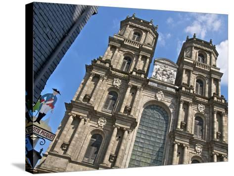 Facade, Cathedral St. Pierre, Built in 1844, Old Rennes, Brittany, France, Europe-Guy Thouvenin-Stretched Canvas Print