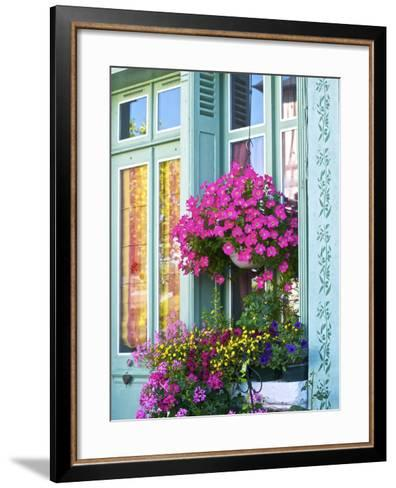 Window With Flowers, France, Europe-Guy Thouvenin-Framed Art Print