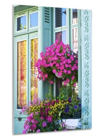 Window With Flowers, France, Europe-Guy Thouvenin-Metal Print