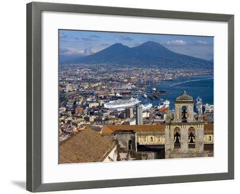 Cityscape With Certosa Di San Martino and Mount Vesuvius Naples, Campania, Italy, Europe-Charles Bowman-Framed Art Print