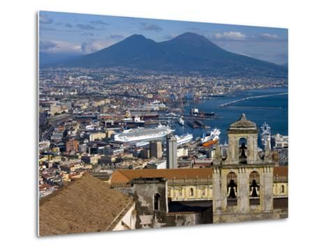 Cityscape With Certosa Di San Martino and Mount Vesuvius Naples, Campania, Italy, Europe-Charles Bowman-Metal Print