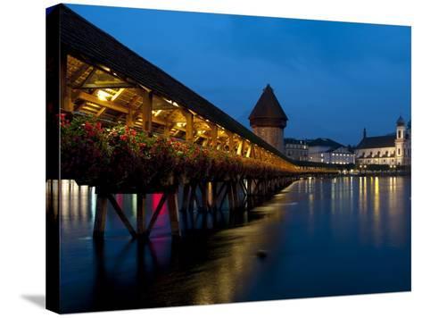 Chapel Bridge at Dusk, Lucerne, Switzerland, Europe-Charles Bowman-Stretched Canvas Print
