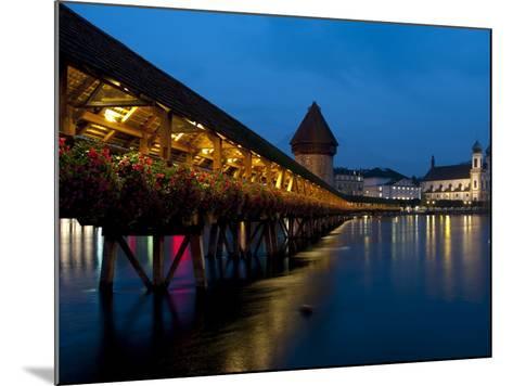 Chapel Bridge at Dusk, Lucerne, Switzerland, Europe-Charles Bowman-Mounted Photographic Print