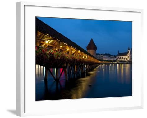 Chapel Bridge at Dusk, Lucerne, Switzerland, Europe-Charles Bowman-Framed Art Print