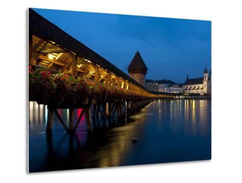 Chapel Bridge at Dusk, Lucerne, Switzerland, Europe-Charles Bowman-Metal Print
