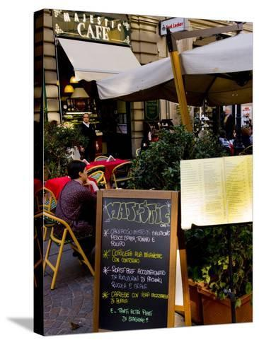 Street Cafe, Milan, Lombardy, Italy, Europe-Charles Bowman-Stretched Canvas Print