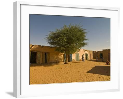 Sandy Square at UNESCO World Heritage Site of Chinguetti, Medieval Trading Centre, N. Mauritania-Michael Runkel-Framed Art Print
