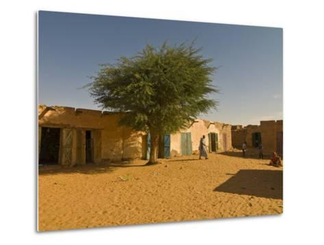 Sandy Square at UNESCO World Heritage Site of Chinguetti, Medieval Trading Centre, N. Mauritania-Michael Runkel-Metal Print