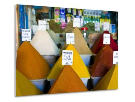 Colourful Spices in the Souk of the Coastal City of Essaouira, Morocco, North Africa, Africa-Michael Runkel-Metal Print