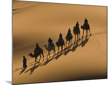 Camel Caravan Riding Through the Sand Dunes of Merzouga, Morocco, North Africa, Africa-Michael Runkel-Mounted Photographic Print