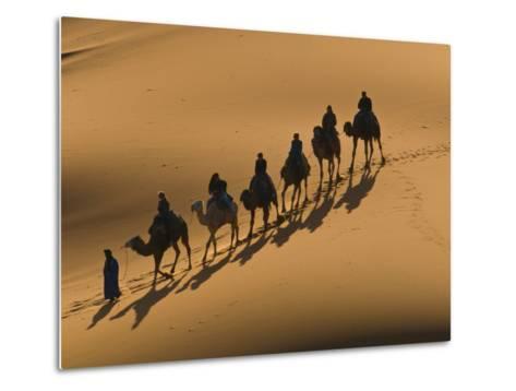 Camel Caravan Riding Through the Sand Dunes of Merzouga, Morocco, North Africa, Africa-Michael Runkel-Metal Print