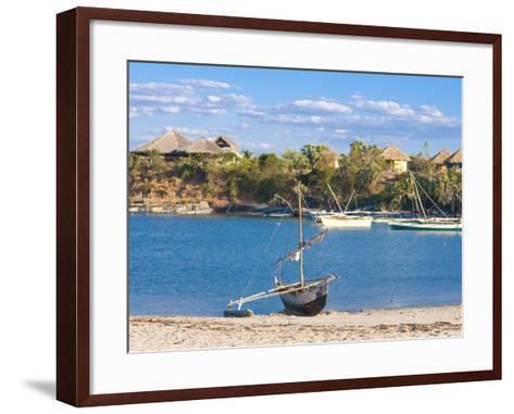 Outrigger Boat Lying on Bank of Sand, Antsanitian Beach Resort, Mahajanga, Madagascar-Michael Runkel-Framed Art Print
