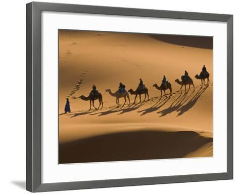 Camels in the Dunes, Merzouga, Morocco, North Africa, Africa-Michael Runkel-Framed Art Print