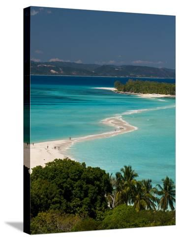 View Above a Sand Bank Linking the Two Little Islands of Nosy Iranja Near Nosy Be, Madagascar-Michael Runkel-Stretched Canvas Print