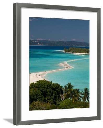 View Above a Sand Bank Linking the Two Little Islands of Nosy Iranja Near Nosy Be, Madagascar-Michael Runkel-Framed Art Print
