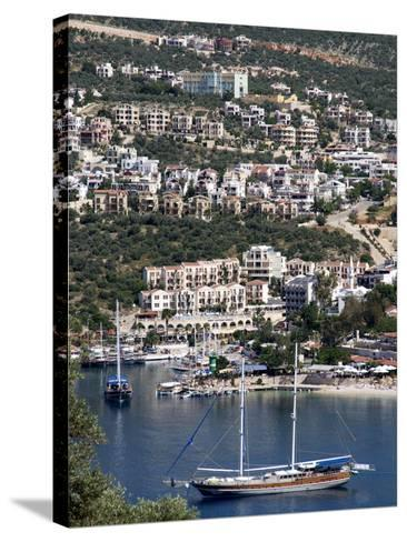 Gulet Anchored at Kalkan, a Popular Tourist Resort, Antalya Province, Anatolia, Turkey--Stretched Canvas Print