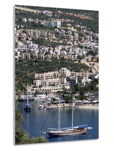 Gulet Anchored at Kalkan, a Popular Tourist Resort, Antalya Province, Anatolia, Turkey--Metal Print