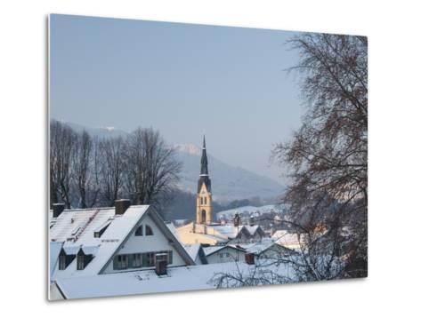 Bad Tolz Spa Town Covered By Snow at Sunrise, Bavaria, Germany-Richard Nebesky-Metal Print