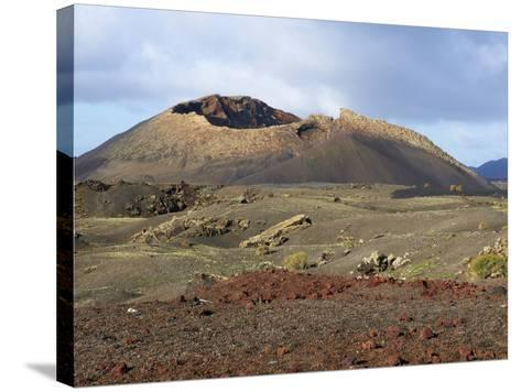 Volcano, Timanfaya National Park, Lanzarote, Canary Islands, Spain, Europe--Stretched Canvas Print