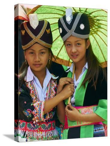 Young Hmong Women in Traditional Dress, Lao New Year Festival, Luang Prabang, Laos, Indochina--Stretched Canvas Print
