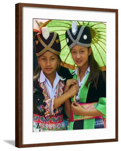 Young Hmong Women in Traditional Dress, Lao New Year Festival, Luang Prabang, Laos, Indochina--Framed Art Print