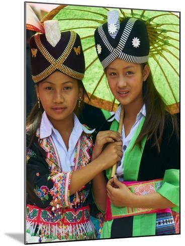 Young Hmong Women in Traditional Dress, Lao New Year Festival, Luang Prabang, Laos, Indochina--Mounted Photographic Print
