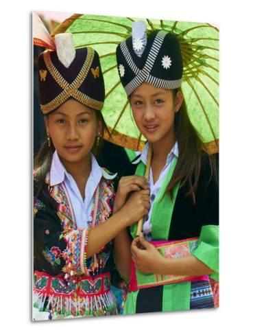 Young Hmong Women in Traditional Dress, Lao New Year Festival, Luang Prabang, Laos, Indochina--Metal Print