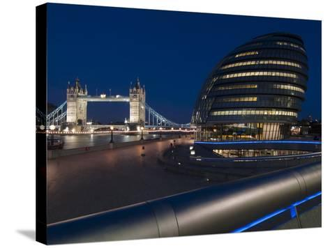 Tower Bridge and City Hall Dusk, London, England, United Kingdom, Europe-Charles Bowman-Stretched Canvas Print