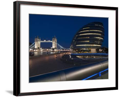 Tower Bridge and City Hall Dusk, London, England, United Kingdom, Europe-Charles Bowman-Framed Art Print