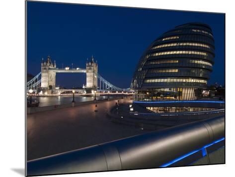 Tower Bridge and City Hall Dusk, London, England, United Kingdom, Europe-Charles Bowman-Mounted Photographic Print