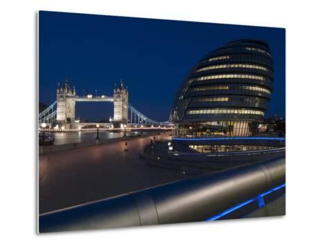 Tower Bridge and City Hall Dusk, London, England, United Kingdom, Europe-Charles Bowman-Metal Print