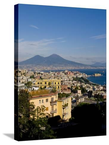 Cityscape and Mount Vesuvius, Naples, Campania, Italy, Europe-Charles Bowman-Stretched Canvas Print