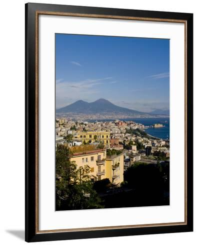 Cityscape and Mount Vesuvius, Naples, Campania, Italy, Europe-Charles Bowman-Framed Art Print