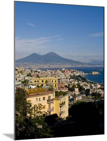 Cityscape and Mount Vesuvius, Naples, Campania, Italy, Europe-Charles Bowman-Mounted Photographic Print