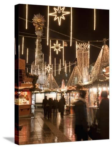 Stalls of Christmas Market, With Baroque Trinity Column in Background, Hauptplatz, Linz, Austria-Richard Nebesky-Stretched Canvas Print