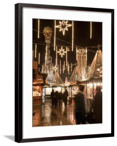 Stalls of Christmas Market, With Baroque Trinity Column in Background, Hauptplatz, Linz, Austria-Richard Nebesky-Framed Art Print