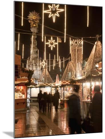 Stalls of Christmas Market, With Baroque Trinity Column in Background, Hauptplatz, Linz, Austria-Richard Nebesky-Mounted Photographic Print