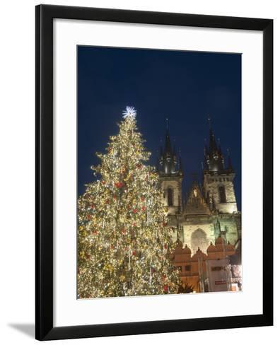 Gothic Tyn Church, Christmas Tree at Twilight in Old Town Square, Stare Mesto, Prague-Richard Nebesky-Framed Art Print